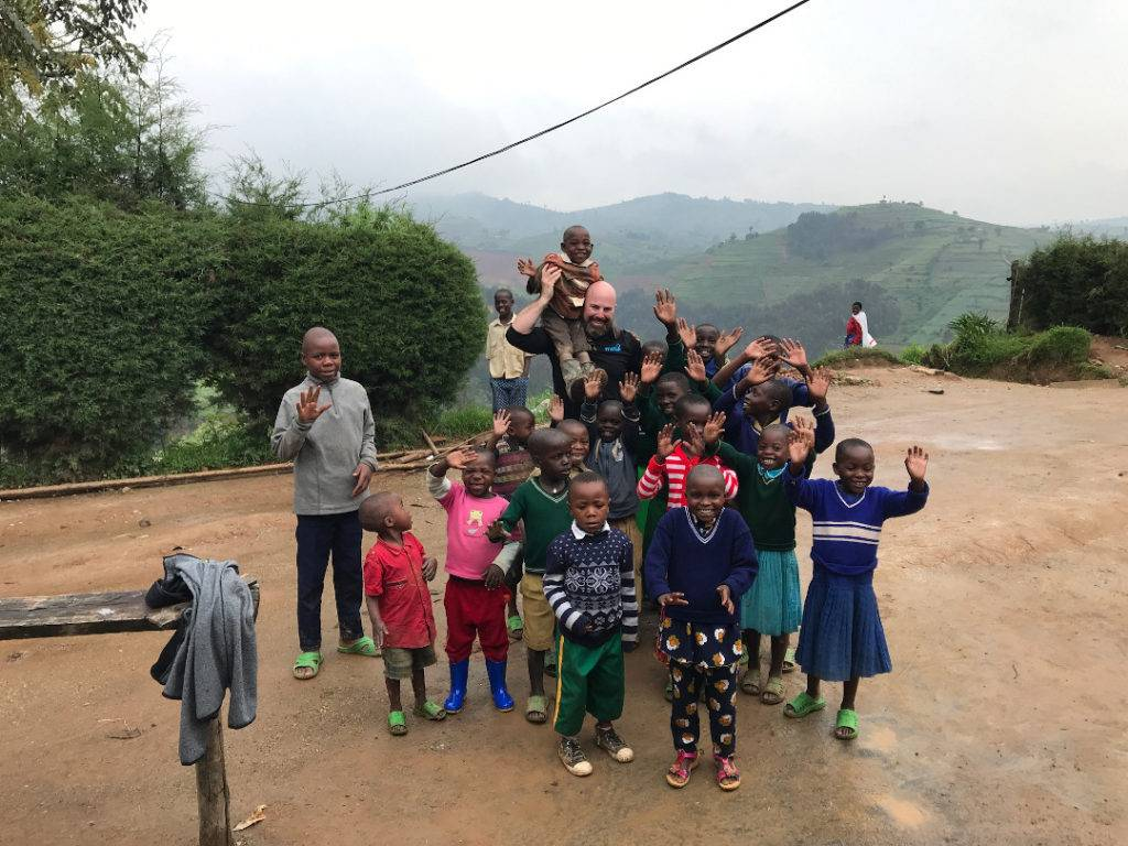 Balfour Beatty's Jake Dwyer with Children in Rwanda