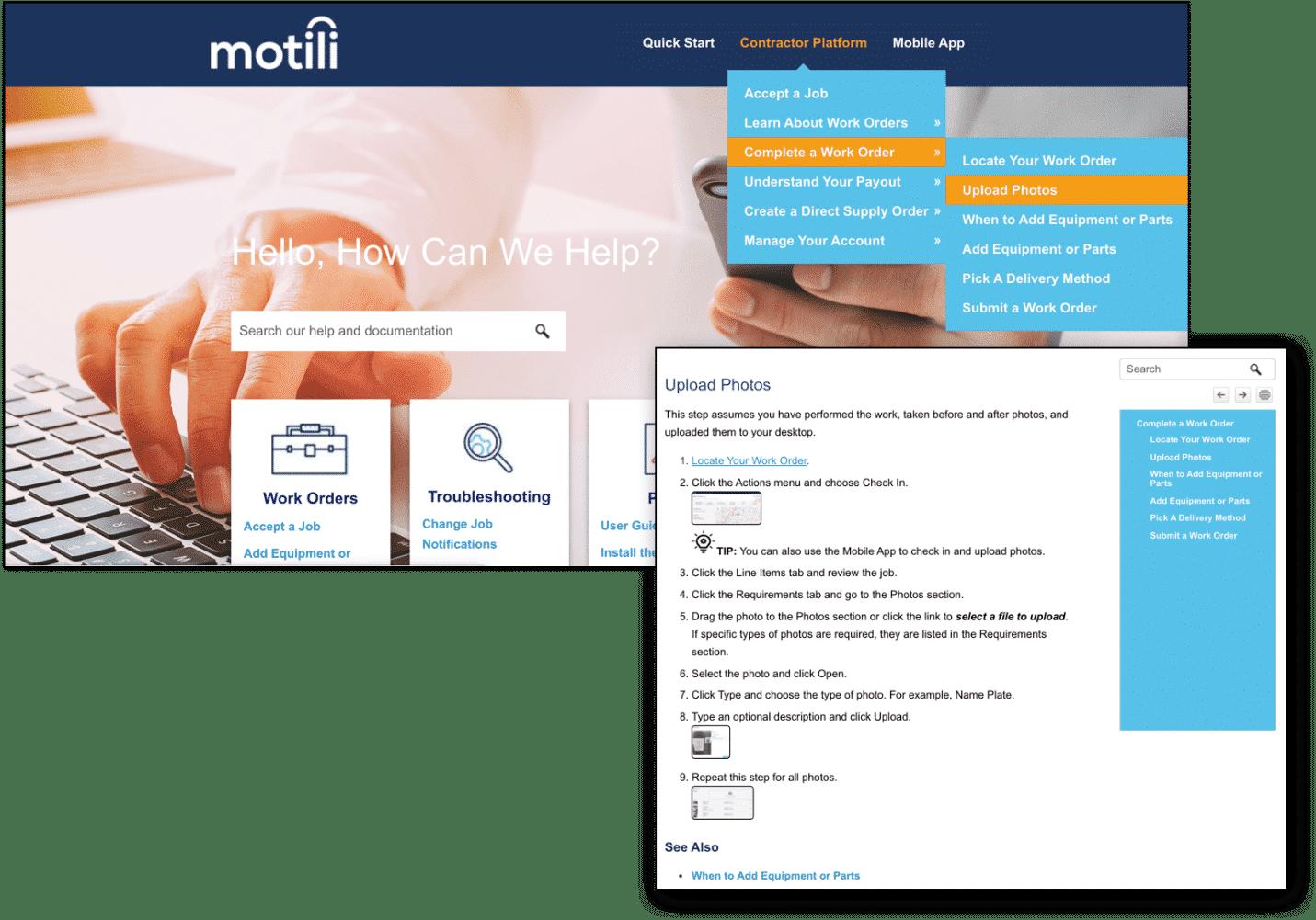 motili contractor help center drop down menu